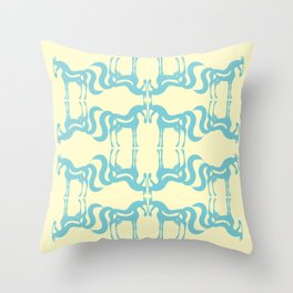 The Essence of a Horse Ornamental Pattern (Cream and Blue) Throw Pillow