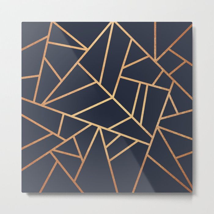 Copper and Midnight Navy Metal Print