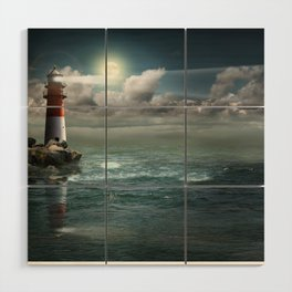 Lighthouse Under Back Light Wood Wall Art