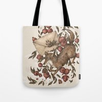 letters Tote Bags featuring Coyote Love Letters by Jessica Roux