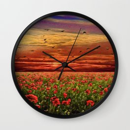Red Poppy Meadows   Oil Painting Wall Clock