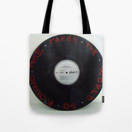 Music Makes The World Go Round on Vinyl Tote Bag