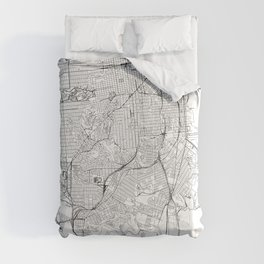 San Francisco White Map Comforters