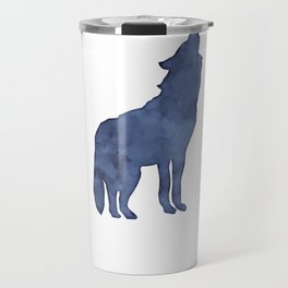 Blue Watercolor Wolf Travel Mug