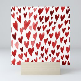 Valentines day hearts explosion - red Mini Art Print