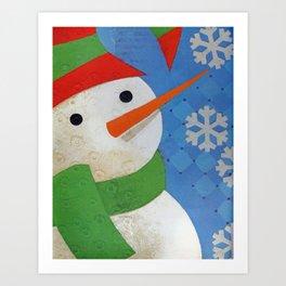 Snowman Face Art Print
