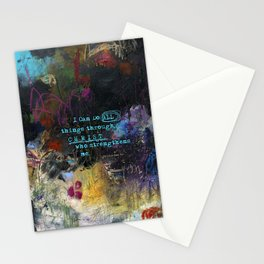 Phillipians 4:13 Bible Verse Scripture Abstract Art by Michel Keck Stationery Cards