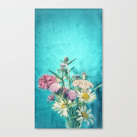 Retro Blue Wild Flowers Canvas Print