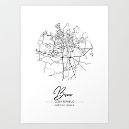 Brno Area City Map, Brno Circle City Maps Print, Brno Black Water City Maps Art Print