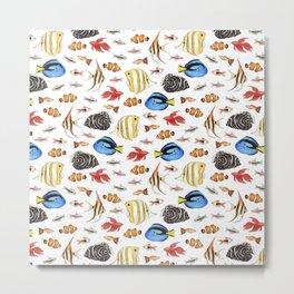 Tropical Fish on White - pattern Metal Print