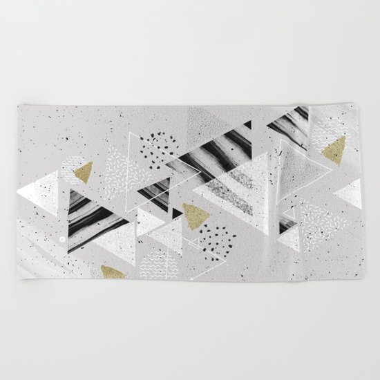 Geometric abstract triangles Beach Towel