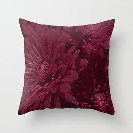 Burgundy Chrysanthemums Throw Pillow