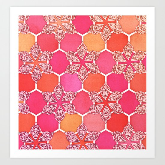 Pink Spice Honeycomb - Doodle Hexagon Pattern Art Print