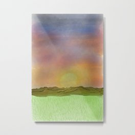 Digital Sunset Sky Metal Print