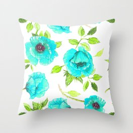 Aqua poppy Throw Pillow
