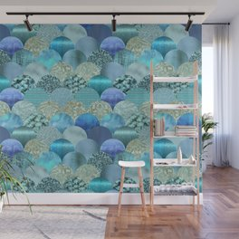 Blue Turquoise Glamour Mermaid Pattern Wall Mural