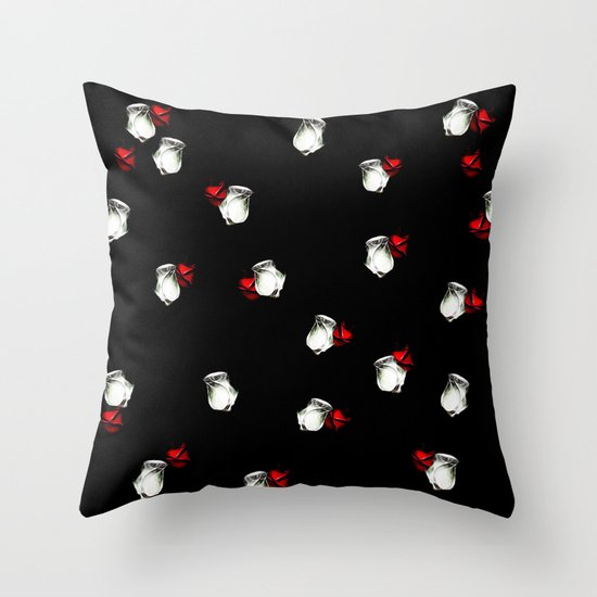 White and Red Roses on Black Background Throw Pillow by Gravityx9 Society6