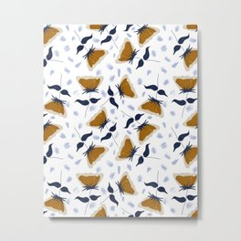 Gold and White Flowers with Blue Metal Print
