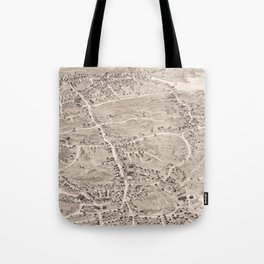Vintage Pictorial Map of Weymouth MA (1880) Tote Bag