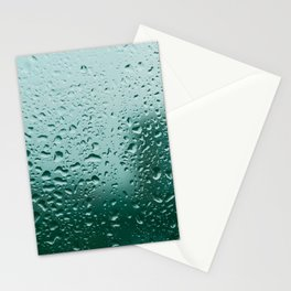 Abstract water drops on glass, rainy day Stationery Cards