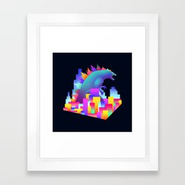 Neon city Godzilla Framed Art Print