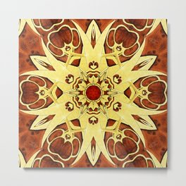 Brass and Burl Mandala Metal Print
