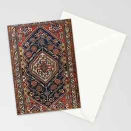 Persian Qashqai Old Century Authentic Colorful Aztec Royal Blue Red Vintage Patterns Stationery Cards