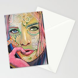 Abstract Art Women Portrait Painting ... Soul of Sunshine Stationery Cards