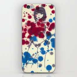 Woman in Blue and Red iPhone Skin