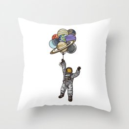 Astronaut With Balloons That Look Like Planets Throw Pillow