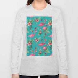 Santa Flamingo Christmas, Holiday Tropical Watercolor Long Sleeve T-shirt