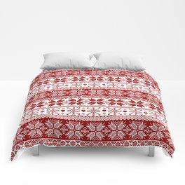 Red Winter Fair Isle Pattern Comforters