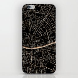 Gold and black Dublin map iPhone Skin