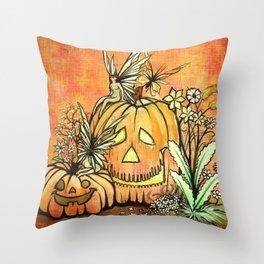 Spunky Pumpkin Fairies Throw Pillow