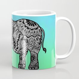 Elephant Lines on Watercolor Coffee Mug