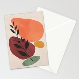 Vintage leaf orange red yellow hand painted. Lovely abstract art. Elegant home decor. Stationery Cards