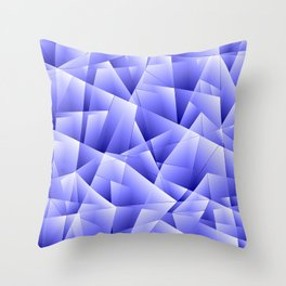 Light overlapping sheets of blue paper triangles. Throw Pillow