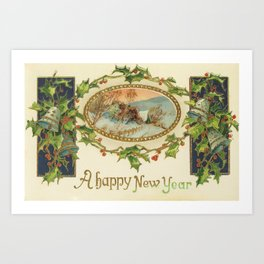 A Happy Vintage New Year Art Print