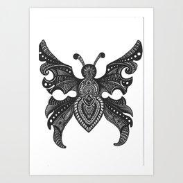 Butterfly zentangle Art Print