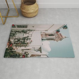 Southern Italy Flowers Town Travel Rug
