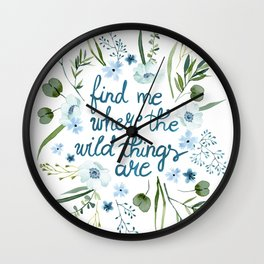 Floral Quote Blue Wall Clock