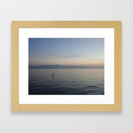 Solo SUP on the ocean after sunset Framed Art Print