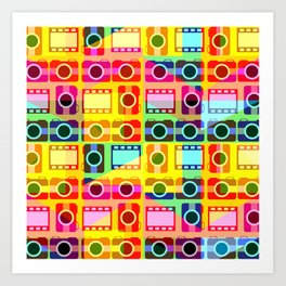 Colorful camera pattern Art Print