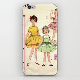 Childrens Vintage Little Girls Play 2 iPhone Skin