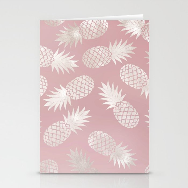Blush Pineapple Pattern Stationery Cards