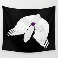 angel wings Wall Tapestries featuring Angel Wings Gothic Cross by Justbyjulie