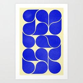 Blue mid-century shapes no8 Art Print