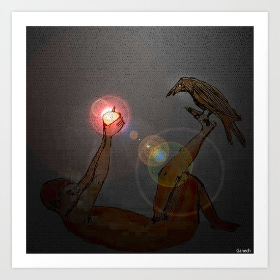 Crow at night Art Print