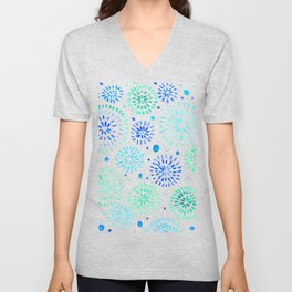 Abstract watercolor sparkles – aqua and blue Unisex V-Neck