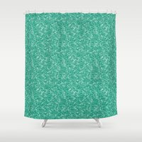 aviation Shower Curtains featuring Schoolyard Aviation Green by Dianne Delahunty